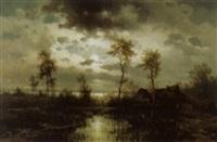 abendliche landschaft an einem see by friedrich wilhelm ferdinand theodor albert
