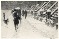 stoops in the snow by martin lewis