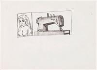 brigitte dans un coin de journal. machine gun a plume de vent ! by robert combas