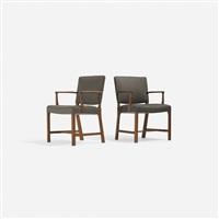 armchairs (pair) by ejnar larsen and aksel bender madsen