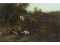 family and horses resting beside a fire in a landscape by edward robert smythe