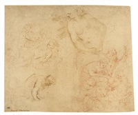 ohne titel (4 studies on 1 sheet) by romanino (girolamo romani)