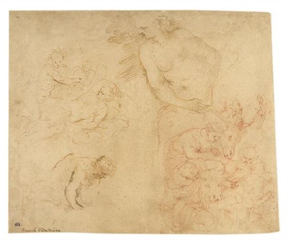 ohne titel (4 studies on 1 sheet) by romanino (girolamo romani)