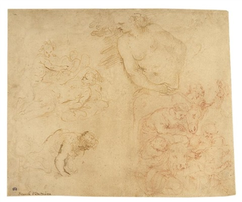 ohne titel 4 studies on 1 sheet by romanino girolamo romani