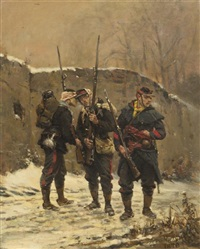 three soldiers in winter by alphonse marie de neuville