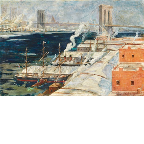 brooklyn bridge from brooklyn by colin campbell cooper