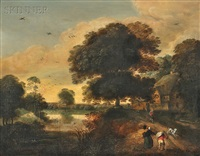 landscape with figures by pieter jansz van asch
