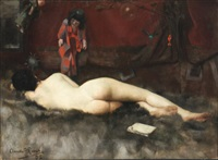 recumbent nude by claude a. rivet