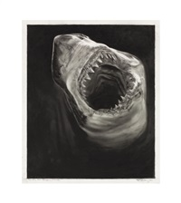 study for raging shark by robert longo