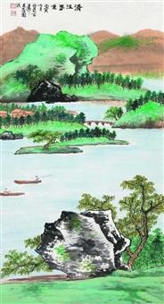 清江春色 立轴 设色纸本 by xie zhiliu