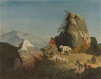 ein ziegenhirte in felsiger gebirgslandschaft by august wilhelm julius ahlborn