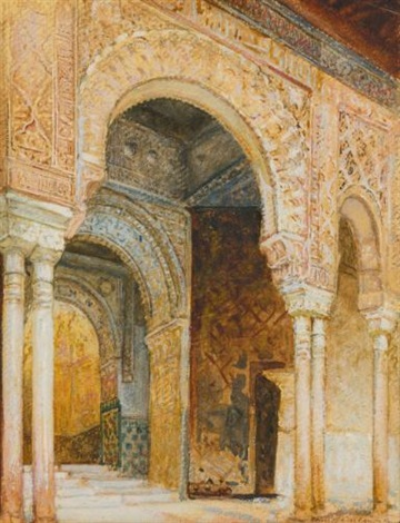 arches in alhambra after raguet by louis comfort tiffany
