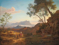 an italianate landscape with travellers and their herd, with the monte circeo and the sea beyond by johann joachim faber
