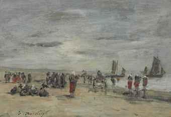 berk, pêcheuses sur la plage by eugène boudin