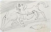 zwei rüden (sketch for auf der straße ii(frau mit hunden und snobs)) by hans grundig