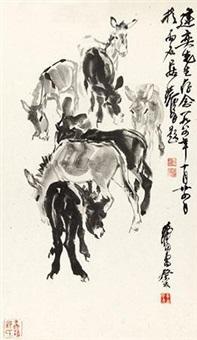 自题并补画群驴图 by huang zhou