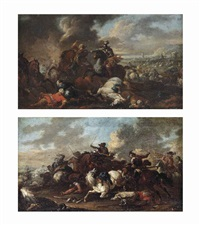a battle between knights and ottomans and a cavalry skirmish (pair) by august querfurt