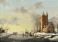 animated winter view with skaters by reginald ernest arnold