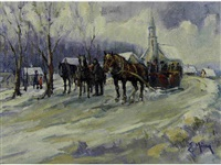 untitled - horse-drawn sleigh by the church by ernest marza