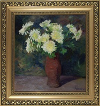 chrysanthemen in vase by jacob ritsema