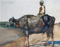 a boy on a water buffalo by erich wolfsfeld