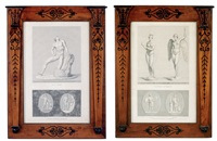 classical statue (+ another; 2 works engraved by godefroy and marais) by jean baptiste joseph wicar