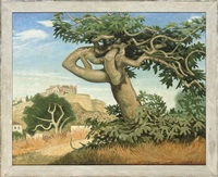 fig tree and walled city, ibiza (+ 4 others; 5 works) by anne e. christopherson