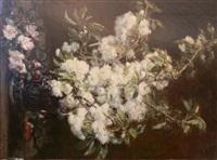 bouquet de roses blanches et d'églantines by alexis kreyder