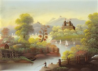 castle on a hill with a sailboat by thomas chambers