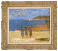 three figures looking out on a sailboat race by john robinson frazier