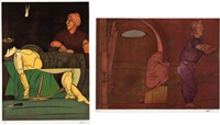 marat assassine/ naissance de la peinture (set of 2) by valerio adami