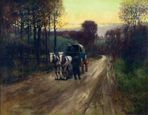 horse-drawn carriage on a rural path, st. louis by paul cornoyer