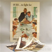 freedom from want; freedom of speech; freedom of worship; freedom of fear (set of 4) by norman rockwell