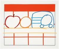 still life with apple, orange, and radio by tom wesselmann