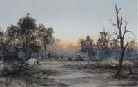 evening camp scene by william joseph wadham