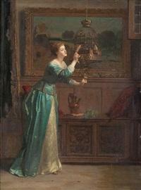 intérieur animé d'une jeune femme près d'une cage d'oiseau by florent willems