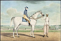 a white racehorse, jockey and groom by muhammad amir
