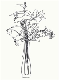 steel drawing/wildflower bouquet edition by tom wesselmann