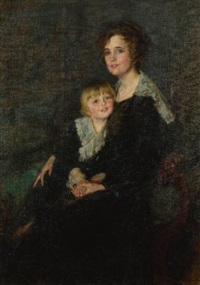 portrait of molly bangs armstrong and her son, john by lydia field emmet