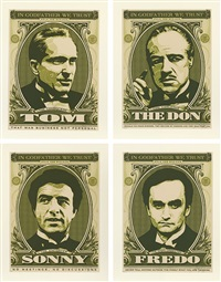godfather set (the don, sonny, fredo, tom) (set of 4) by shepard fairey