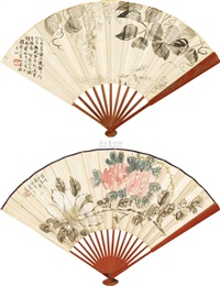 花卉草虫 (flowers, fruits, and vegetables) (recto-verso) by chen shizeng and qi baishi