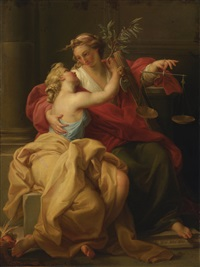 allegory of peace and justice by pompeo girolamo batoni