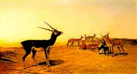 herd of indian blackbuck by john trivett nettleship