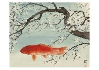 red carps and white plum by sanrei kodama
