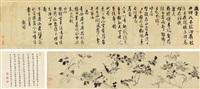 咏花诗卷 (+ colophon, smllr) by wang guxiang