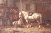 two horses in a stable by wilhelm johan jacobus