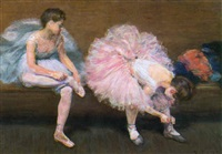 danseuses ajustant leurs chausons by charles paul renouard