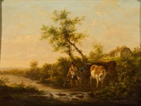 drover, mule and cattle crossing a stream, a cottage beyond by henry milbourne
