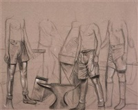 figure group (+ another, charcoal on paper; 2 works) by shaun gladwell