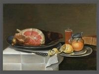 stillleben mit schinken, zitrone, brot und glas by alexander adriaenssen